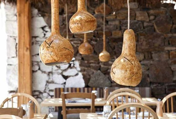 Pumpkin pendant lights for decorating the room in a natural style
