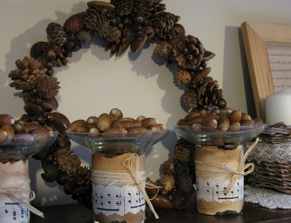Wreath of cones and jars of acorns for home decoration