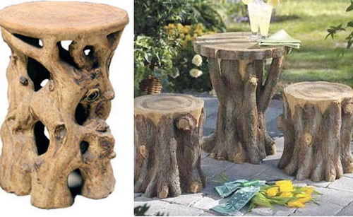 Table and stool from trunks for decor