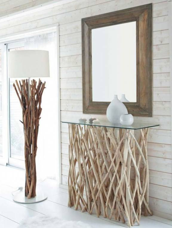 Decor from dry branches - a stand under a mirror and a floor lamp leg