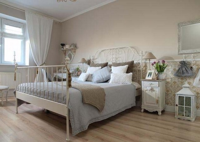 Wooden and forged furniture as the main components of the Provence style interior