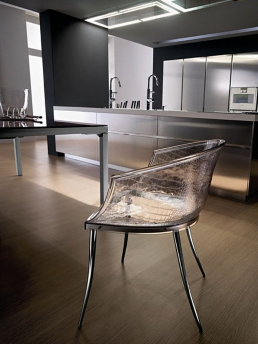 Transparent glass chair in the interior