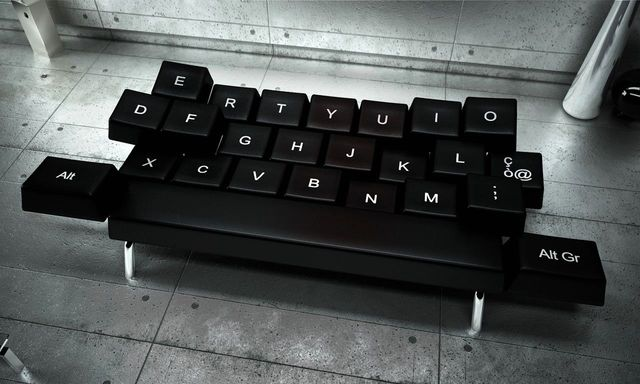 Sofa in the form of a qwerty keyboard