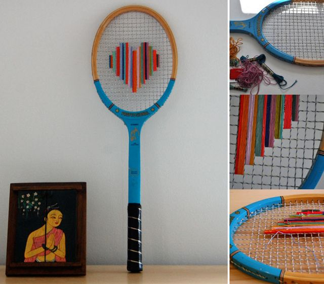 embroidery on strings of racket
