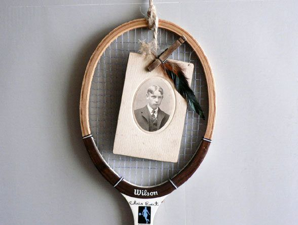 frame for photos from an old tennis racket