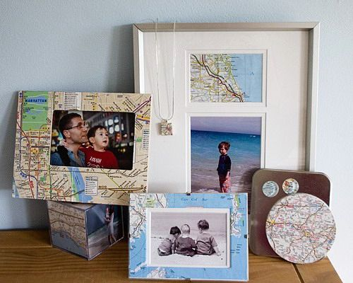 photo frames with geographic maps