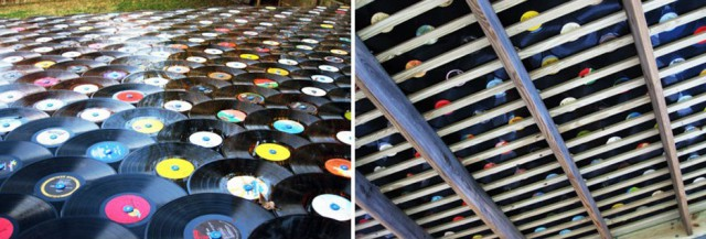roof of old vinyl records