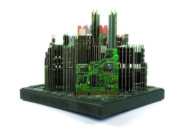 Manhattan panorama from computer parts