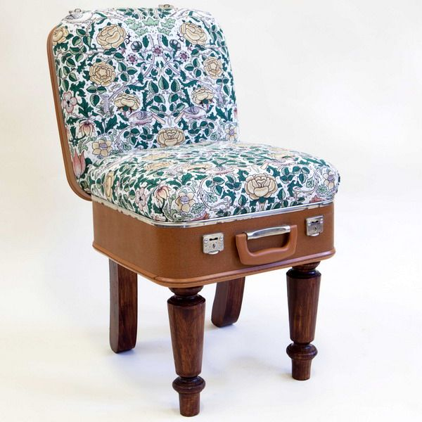 a vintage armchair from a suitcase