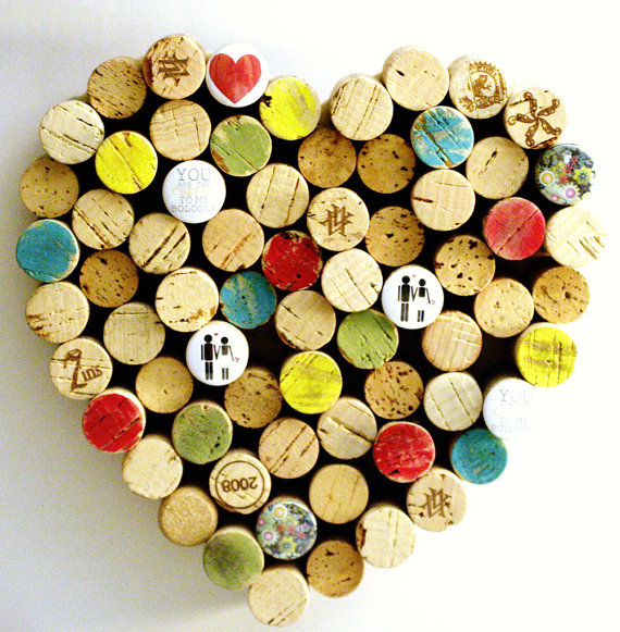 Beautiful heart made of wine corks with your own hands photo
