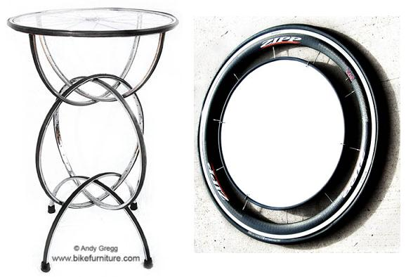 bar table and mirror - furniture from bicycles