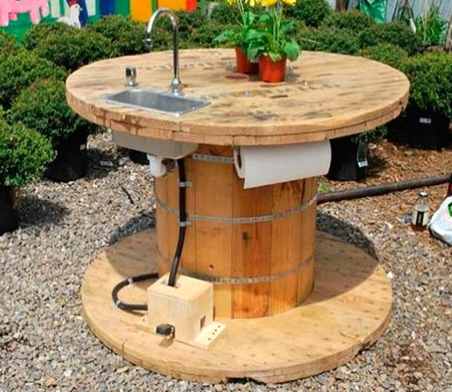garden table - cable reel from cable reel