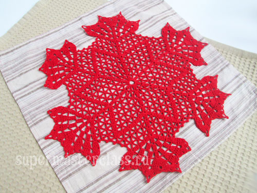 Crocheted napkin star: description and diagram