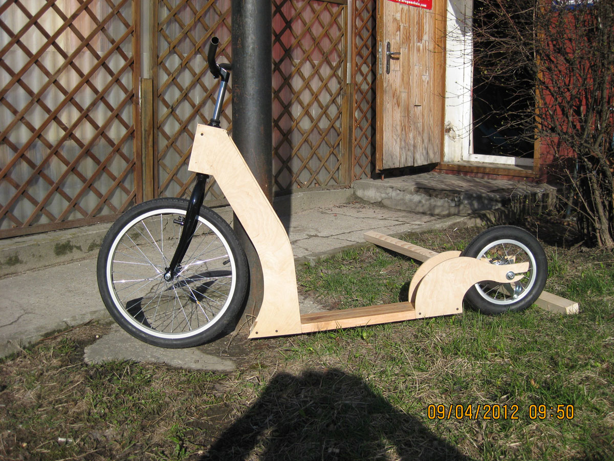 Homemade wooden scooter