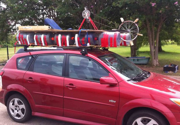 Homemade catamaran from a bicycle and plastic water bottles