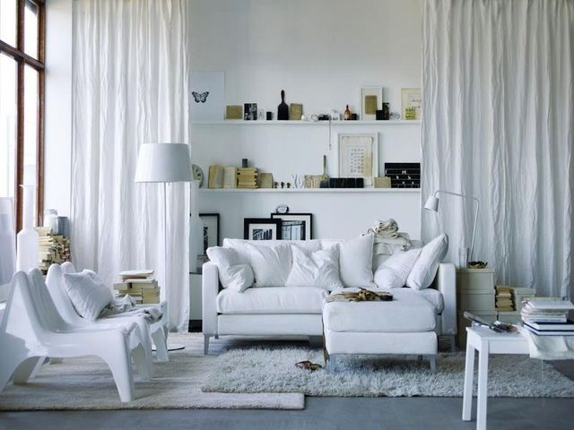 Scandinavian style in the interior - white interior of the living room