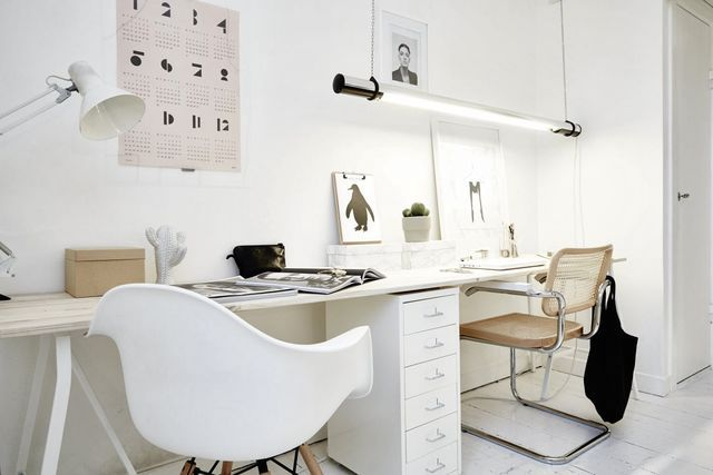 Workplace in the living room of the Scandinavian style