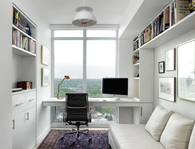 workplace with a view from the window in the living room of the Scandinavian style