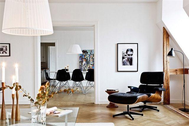 интериора на хола в скандинавски стил с черни детайли