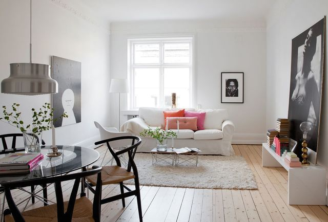 Scandinavian style in the interior of the living room