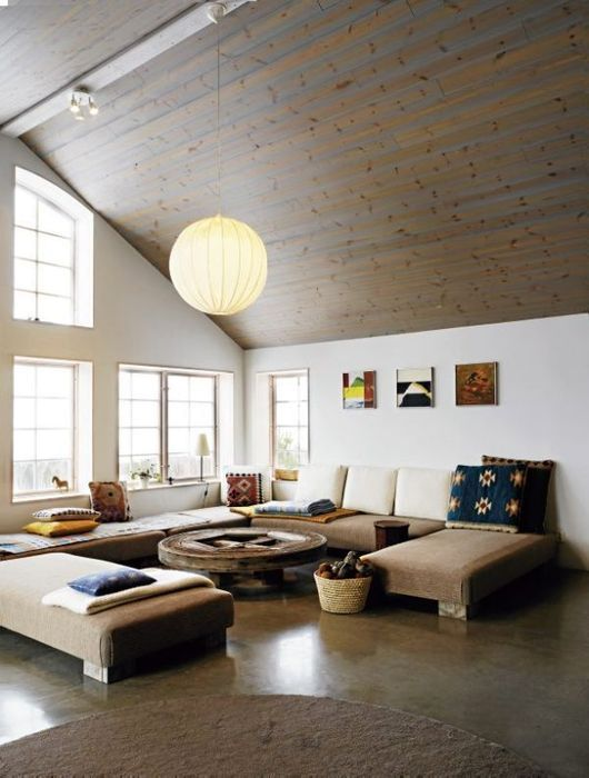 interior of the living room in the loft in the Scandinavian style