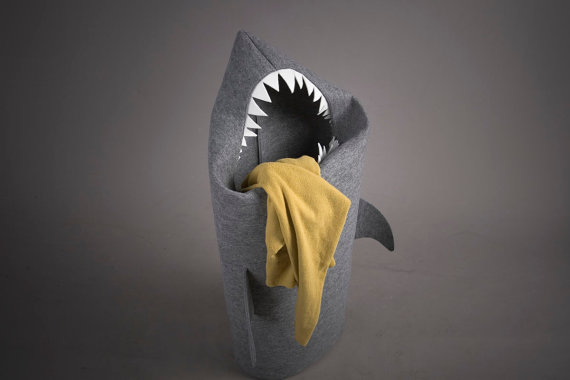 basket for laundry in the bathroom in the form of fabric shark