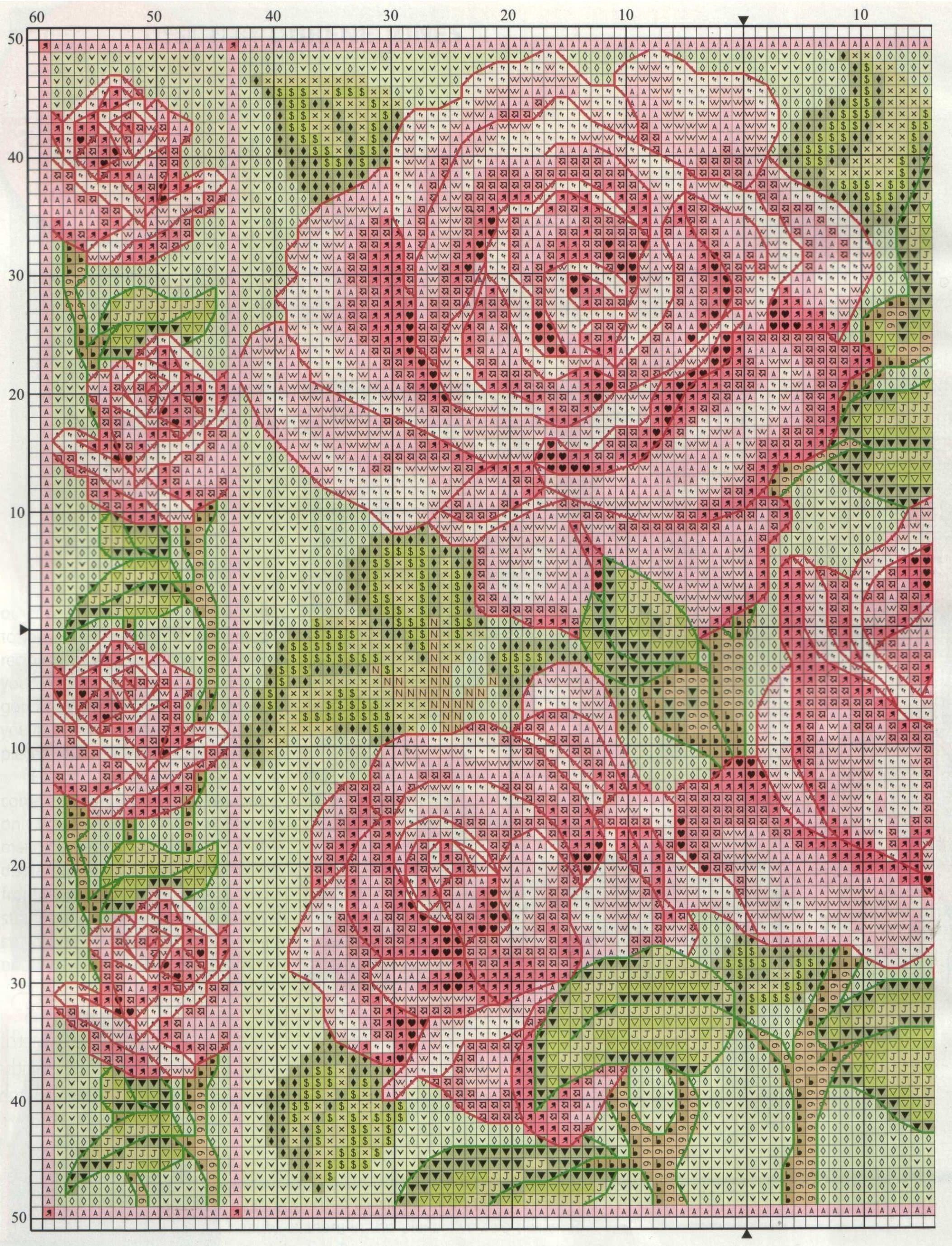 Розовые схемы вышивок крестом 793