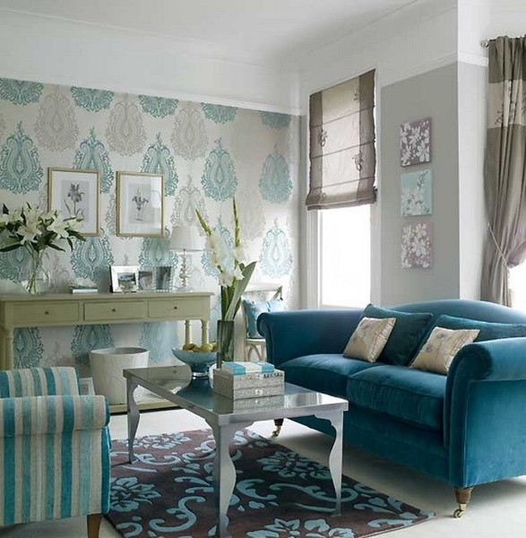 Turquoise sofa in the living room photo
