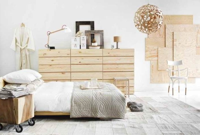 Natural materials in the interior of the Scandinavian style