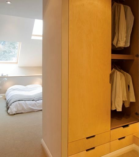bedroom and wardrobe in a narrow house