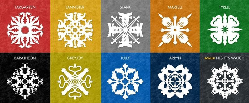 snowflakes in the style of the Games of Thrones