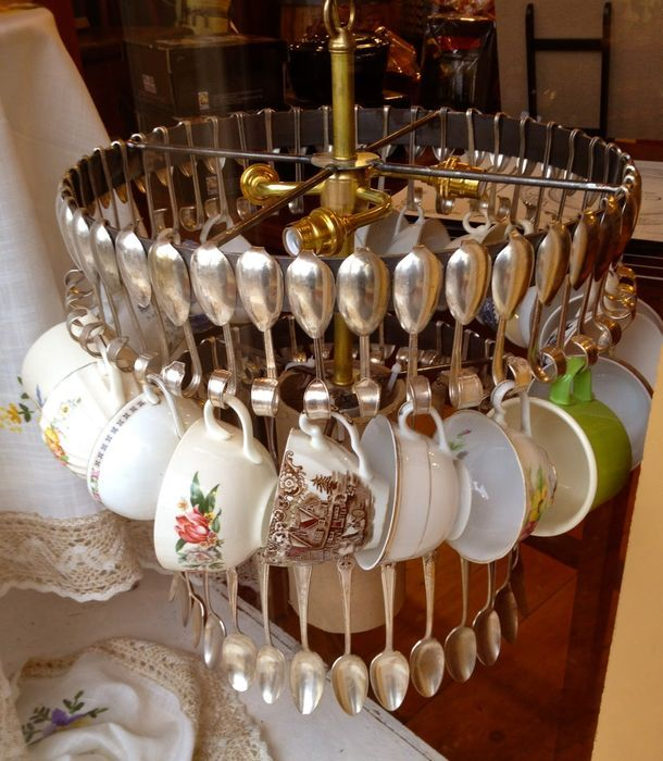 Chandelier from spoons, dishes and cutlery