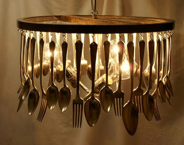 Chandelier from spoons and forks