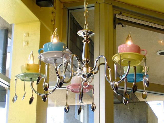 Chandelier from tea cups, saucers and spoons