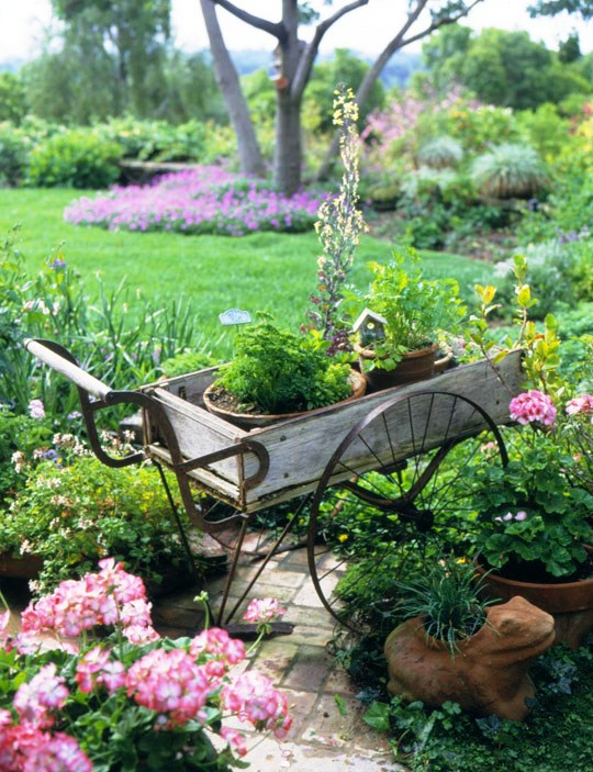 old trolley as a garden decor