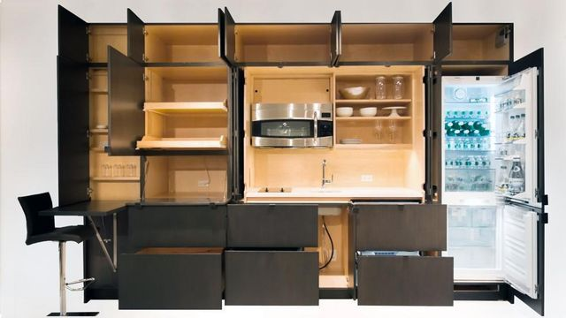 Fully open clever invisible kitchen Stealth Kitchen