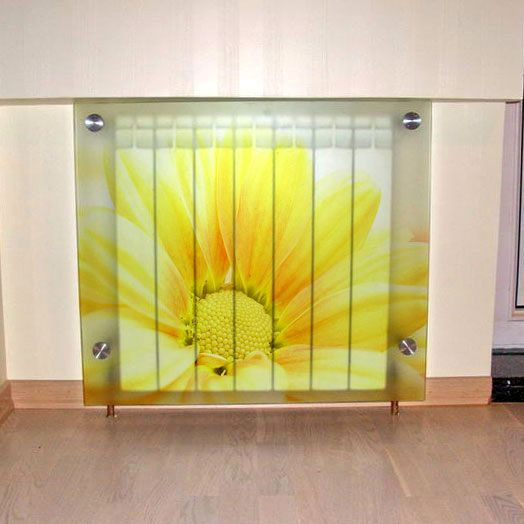 Glass screens for heating batteries with image