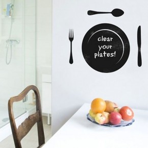 Sticker with chalk surface cutlery