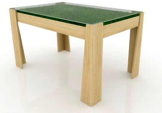 table with grass under the glass