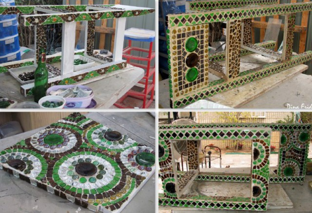 Process of pasting a chair with mosaic