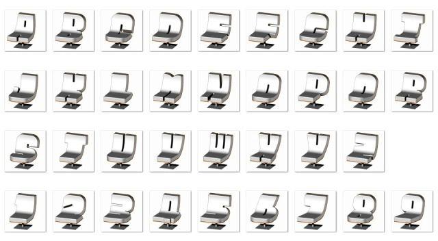 стільці у вигляді букв