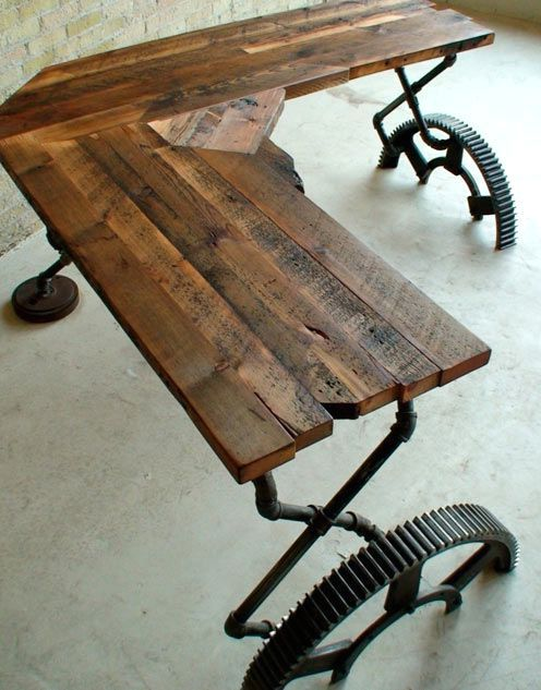 Table from a machine tool in an industrial style