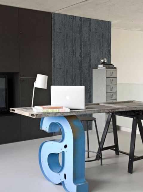 Desktop in the industrial style with the letter A