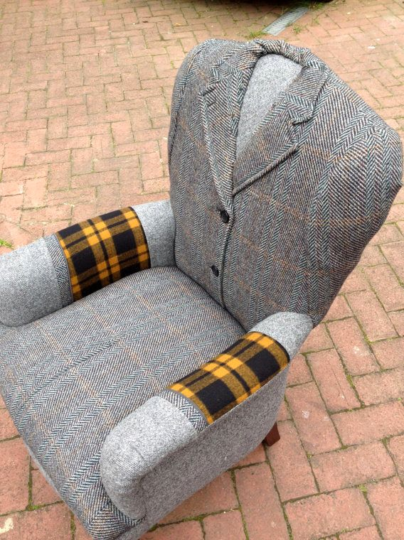 upholstery of a chair from a man's jacket