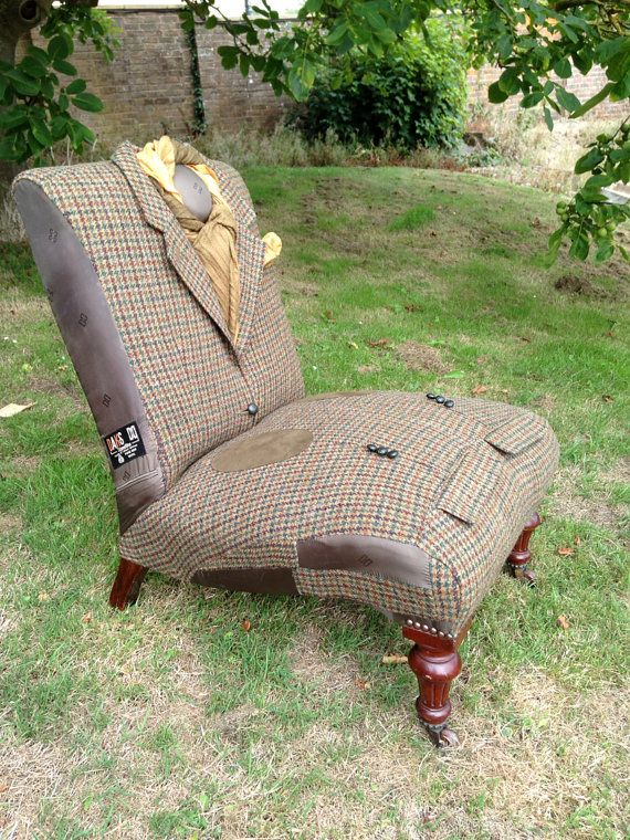 upholstery of a chair from a man's coat
