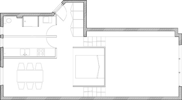 apartment plan with a hanging bedroom