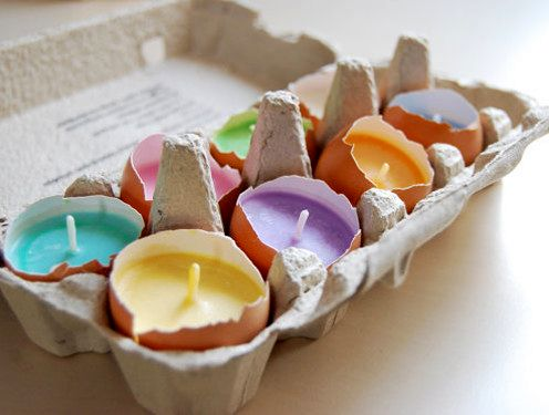 candles in shell from eggs