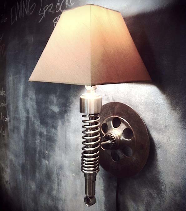 Lamp from a motorcycle shock absorber