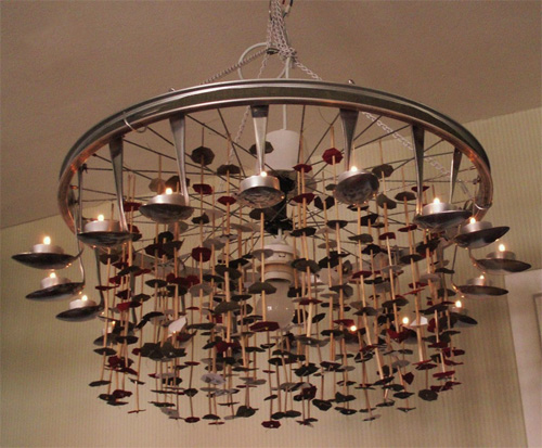 Homemade chandeliers and lamps from spoons