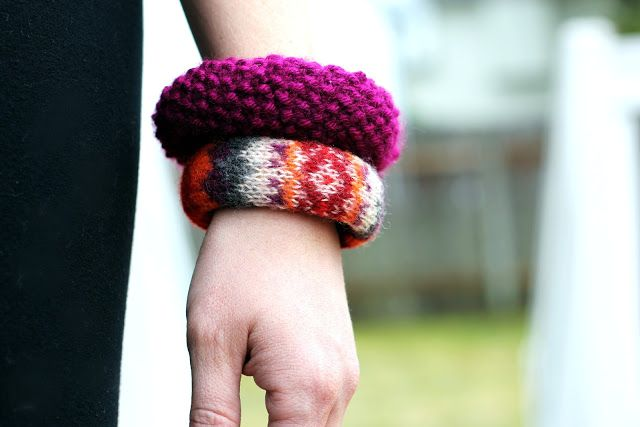 knitted bracelets from sweater